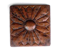 Copper tile with embossed design