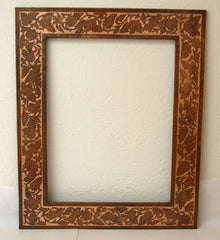 Rectangular copper mirror frame - engraved floral design