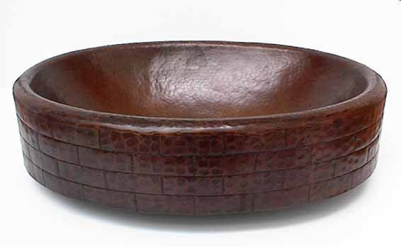 Oval Copper Vessel Sinks w/ Brick Design