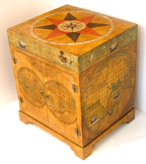 Old world map painted chest vanity Model CM-0001