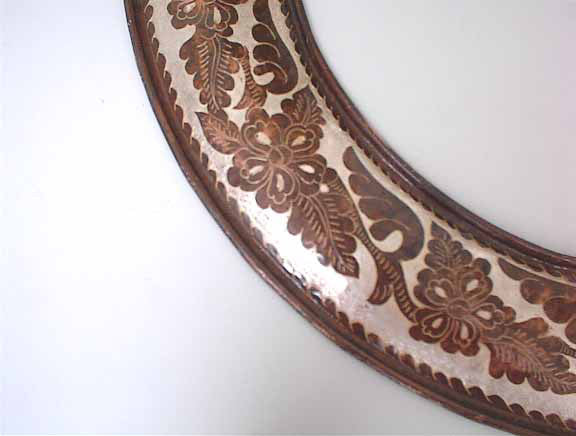 Round copper mirror frame - engraved floral design
