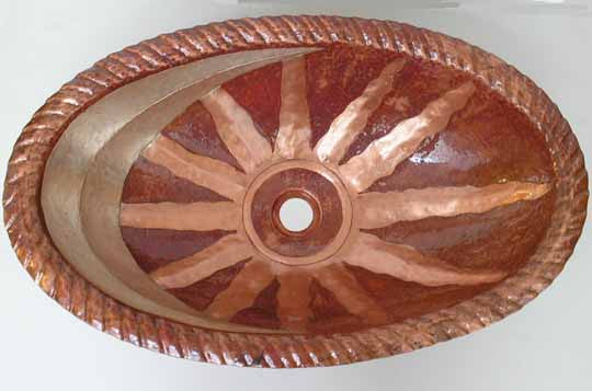 Oval sink with sun and moon design model CS-0103