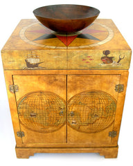 Old world map painted chest vanity Model CM-0002