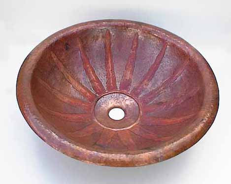 Copper Bathroom Sinks w/ Sun Design