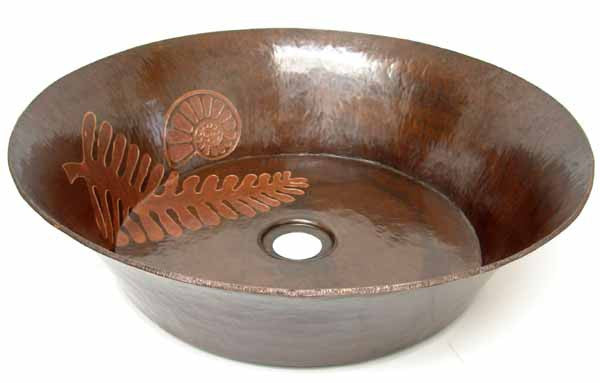 Vessel sink with Fossil theme engraving CS-0129