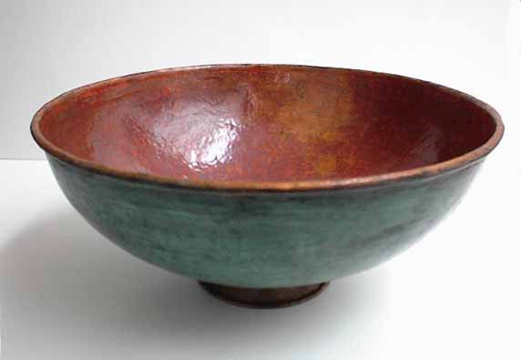 Copper Vessel Sinks in Green Patina