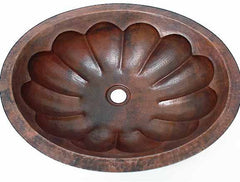 Oval Copper Bathroom Sinks w/ Pumpkin Design
