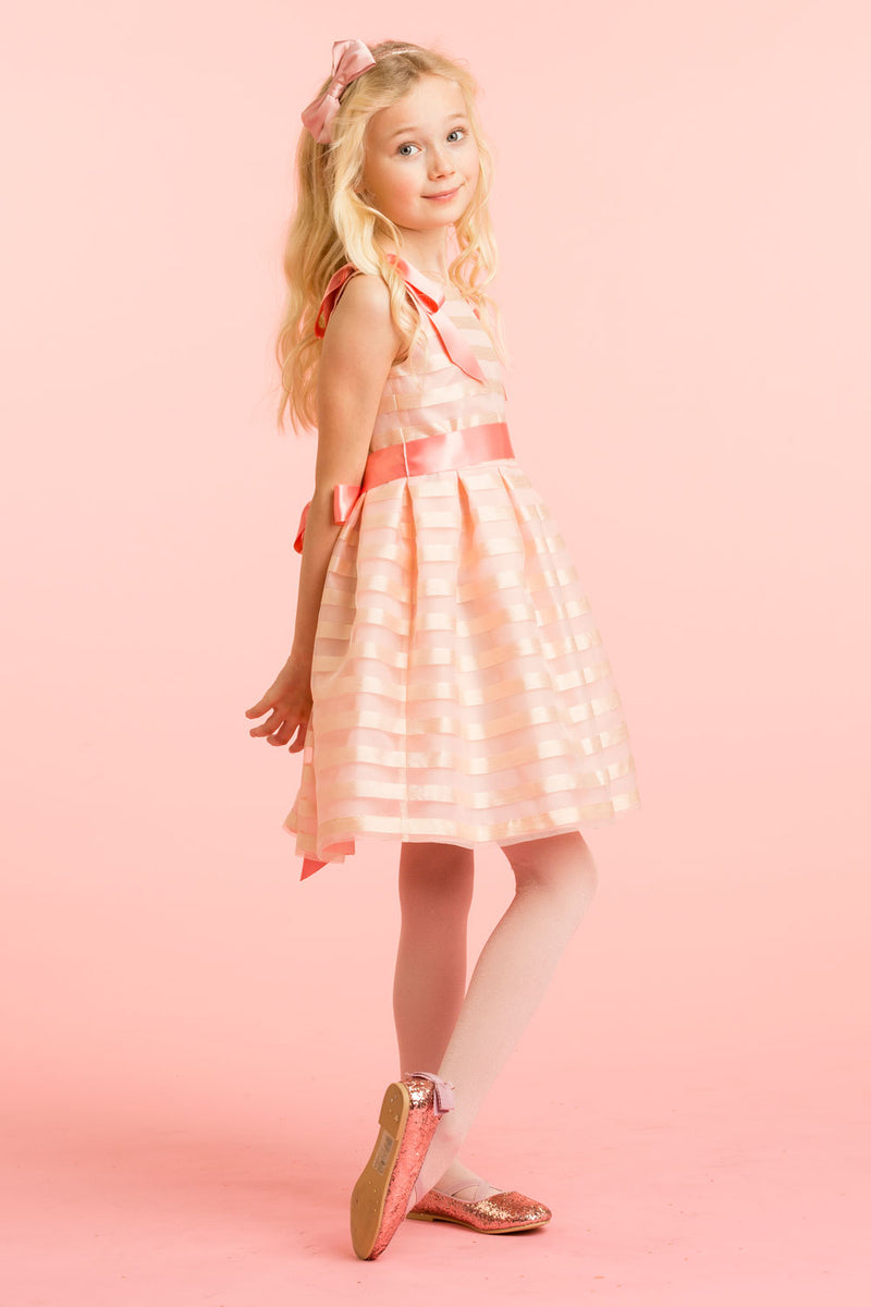 Girls Pale Pink Striped Organza Bow Luxury Designer Dress | Holly Hastie London