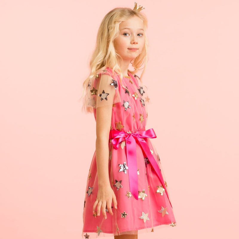 Girls Designer Bright Pink Embroidered Star Dress | Holly Hastie London