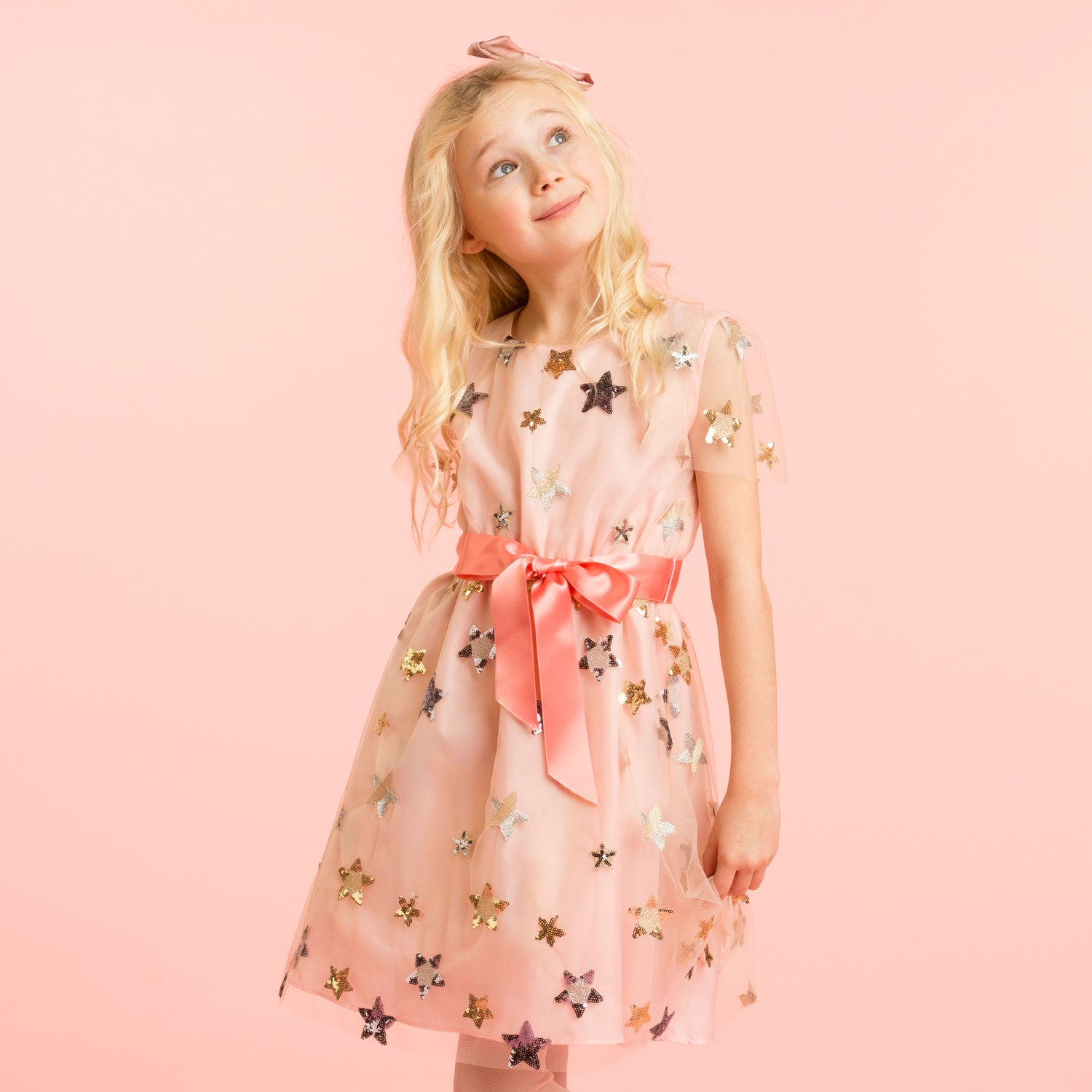 HOLLY HASTIE Girls Designer Pale Pink Embroidered Star Dress
