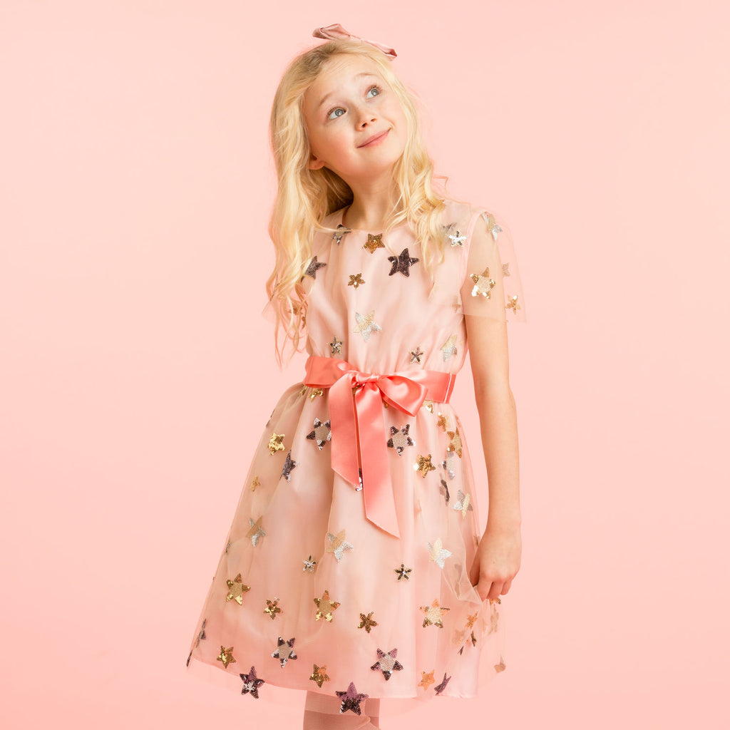 Girls Designer Pale Pink Embroidered Star Dress | Holly Hastie London