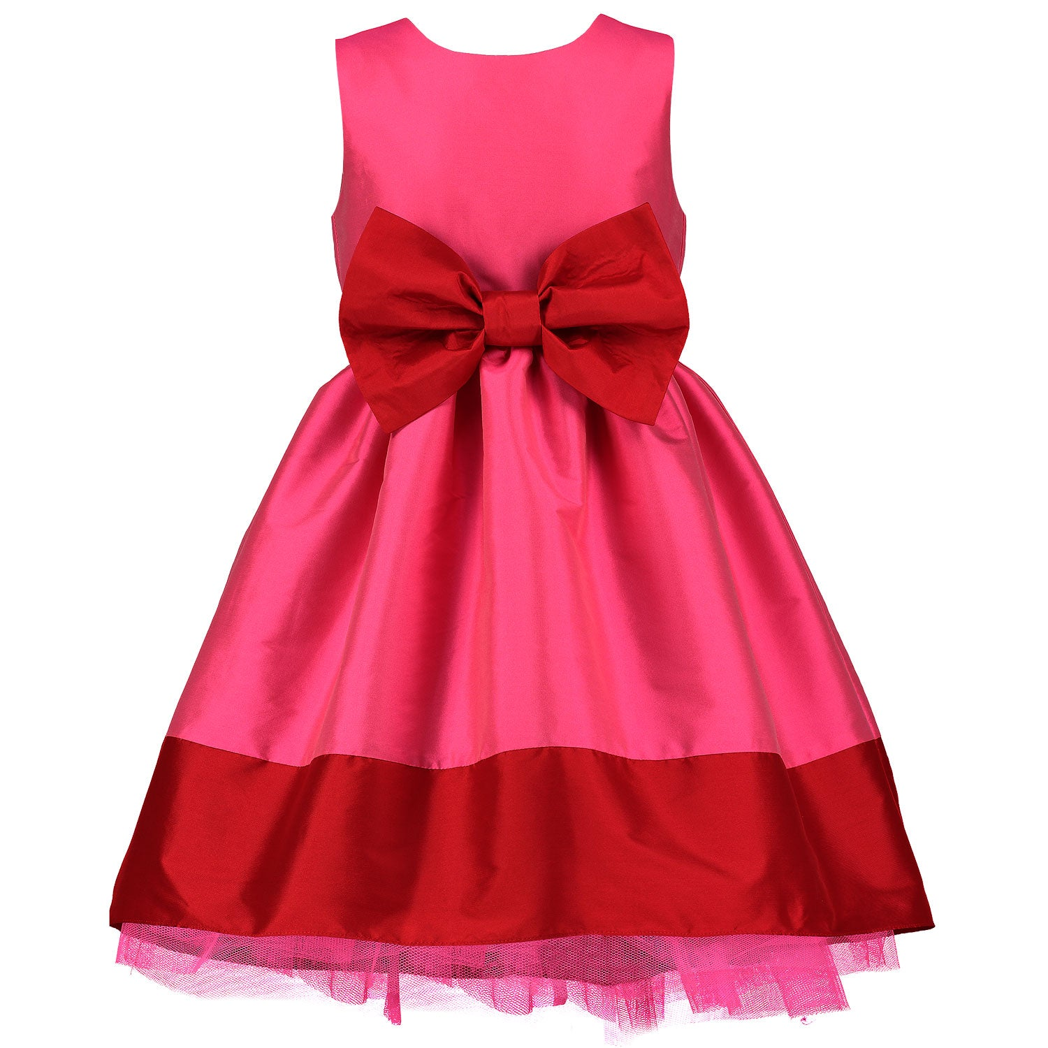 Brand New Girls Uk High Street Red Bow Dress Age 2-3 Years Summer Party