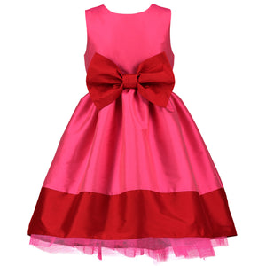 Girls Designer Party Dress Florence Pink & Red Taffeta Bow | Holly Hastie London
