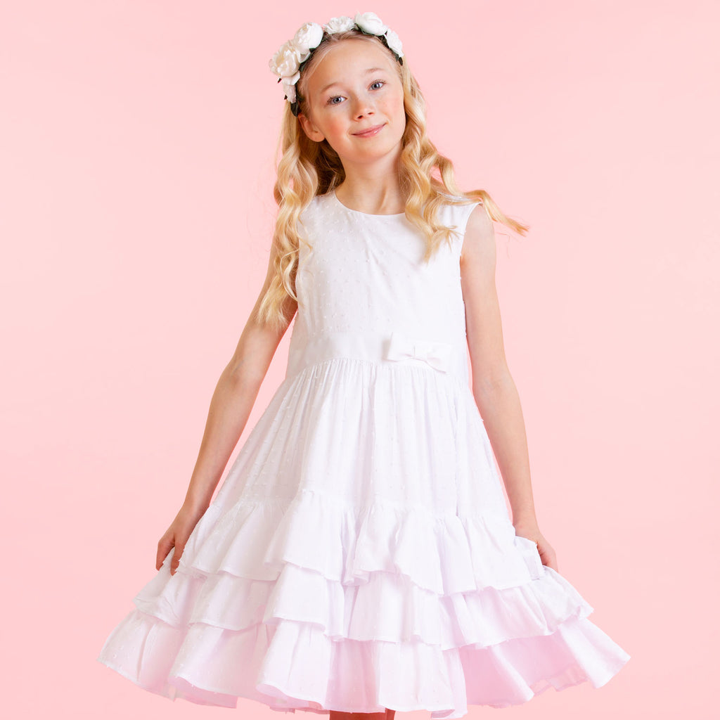 Girls Designer Arabella White Cotton Dobby Dress | Holly Hastie London