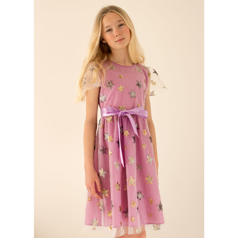 Girls Party Dress Aster Lilac Sequin Star Embroidered Tulle | Holly Hastie London