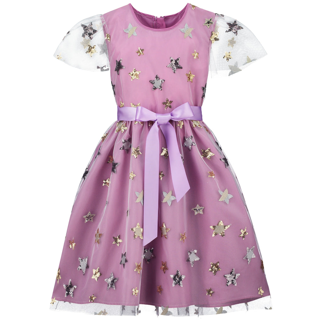 Girls Party Dress Aster Lilac Sequin Star Embroidered Tulle | Holly Hastie London  Edit alt text