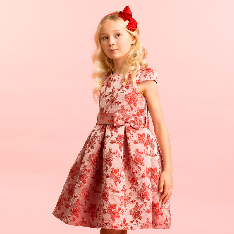 Girls Designer Party Dress Charlotte Red Floral | Holly Hastie London