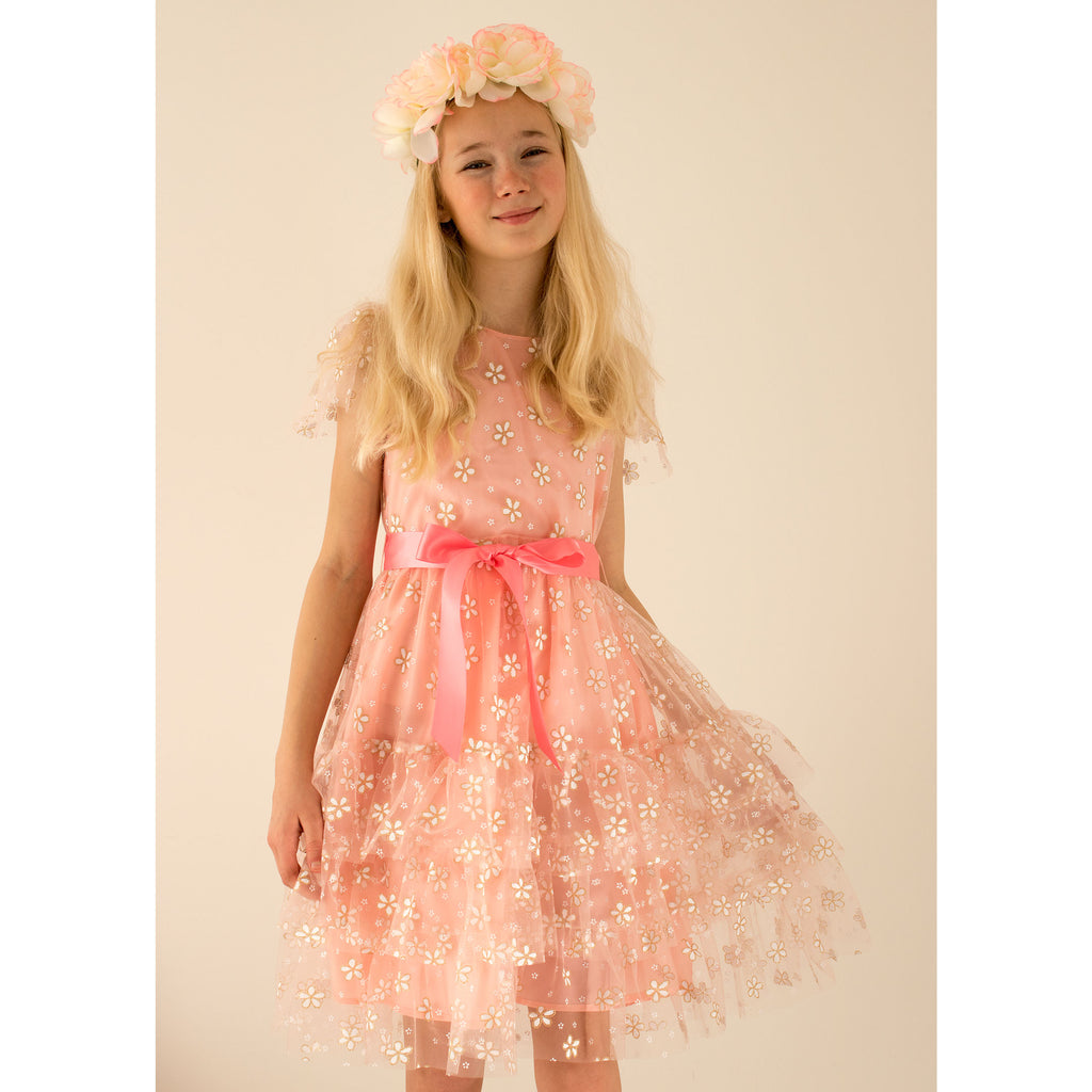 Girls Party Dress Cinderella Pink & Gold Blossom Tulle | Holly Hastie London