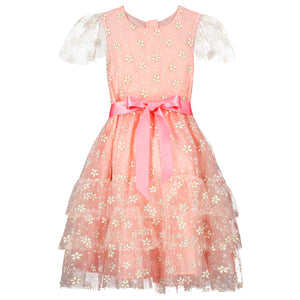 Girls Party Dress Cinderella Pink & Gold Blossom Tulle | Holly Hastie London  Edit alt text
