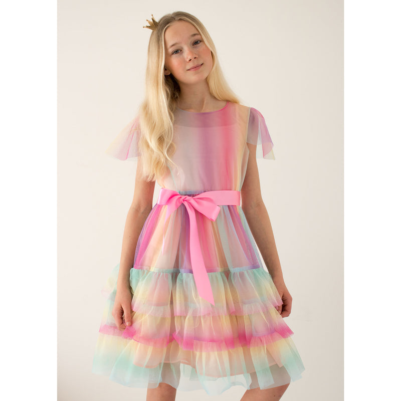 Girls Party Dress Cinderella Rainbow Tulle | Holly Hastie London
