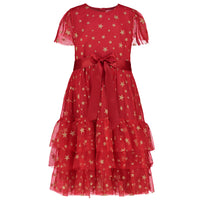 Girls Designer Party Dress Cinderella Red Star Tulle | Holly Hastie London