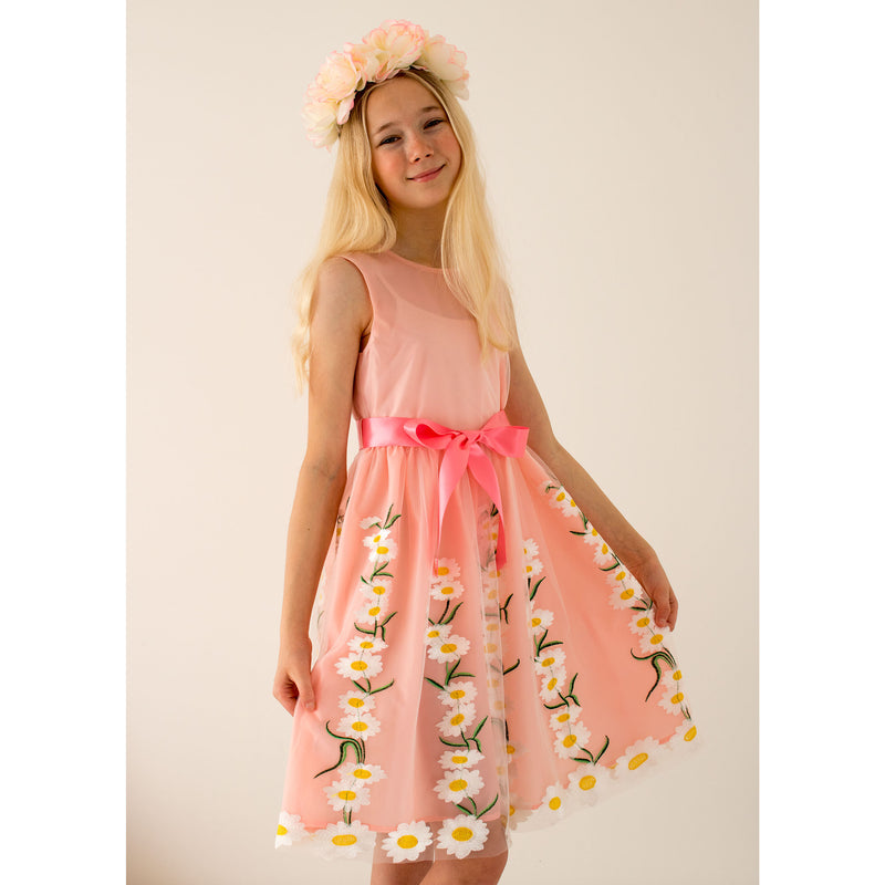 Girls Party Dress Daisy Pink Embroidered Tulle | Holly Hastie London