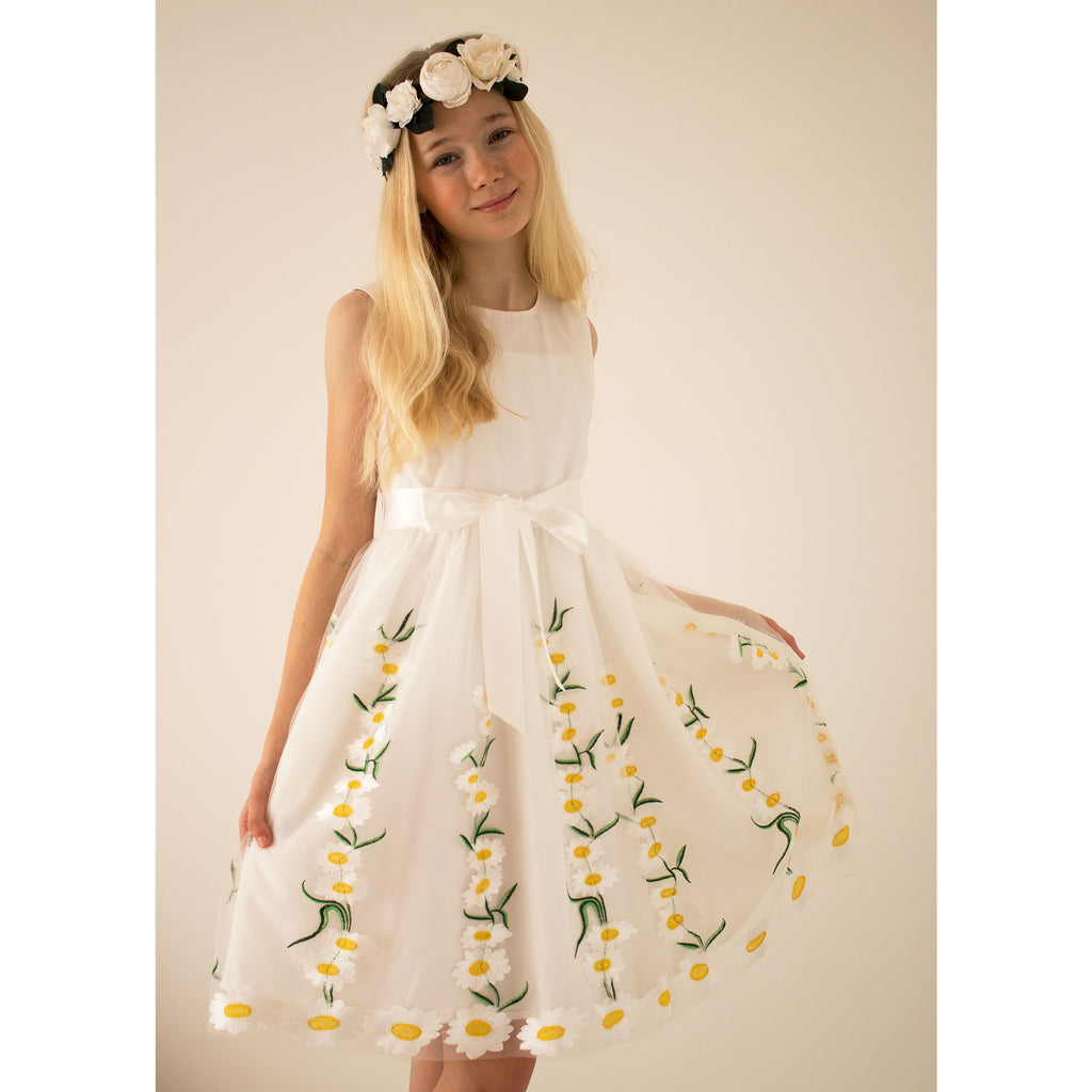 Girls Party Dress Daisy White Embroidered Tulle | Holly Hastie London