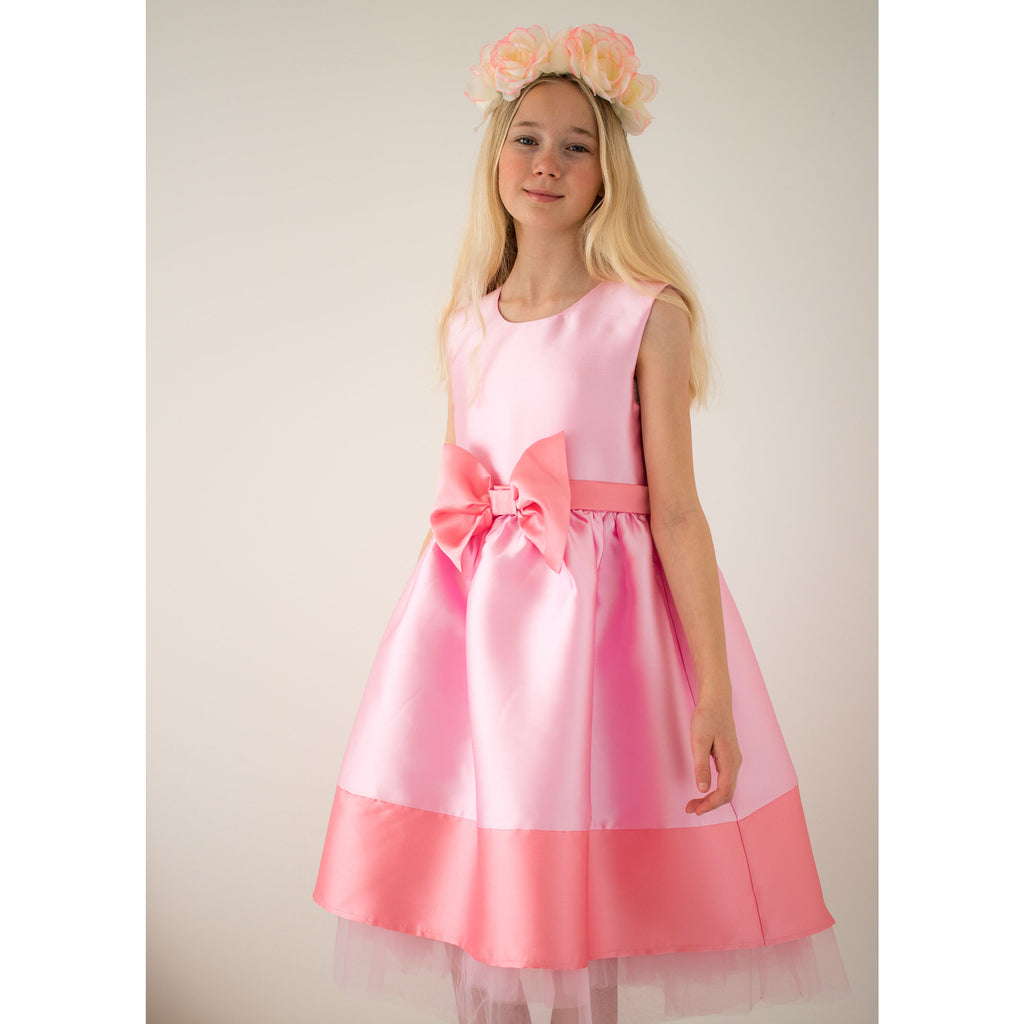 Girls Party Dress Florence Candy Pink Taffeta Bow | Holly Hastie London