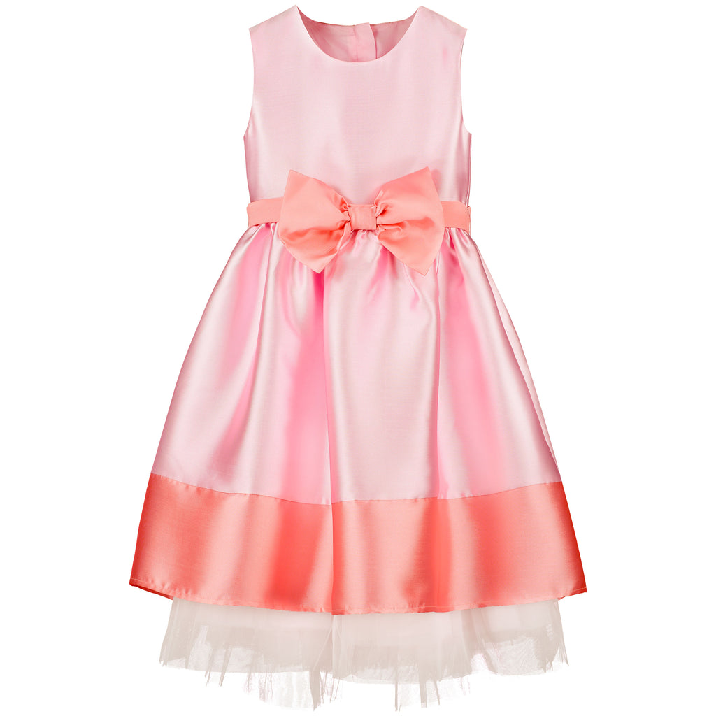 Girls Party Dress Florence Candy Pink Taffeta Bow | Holly Hastie London  Edit alt text