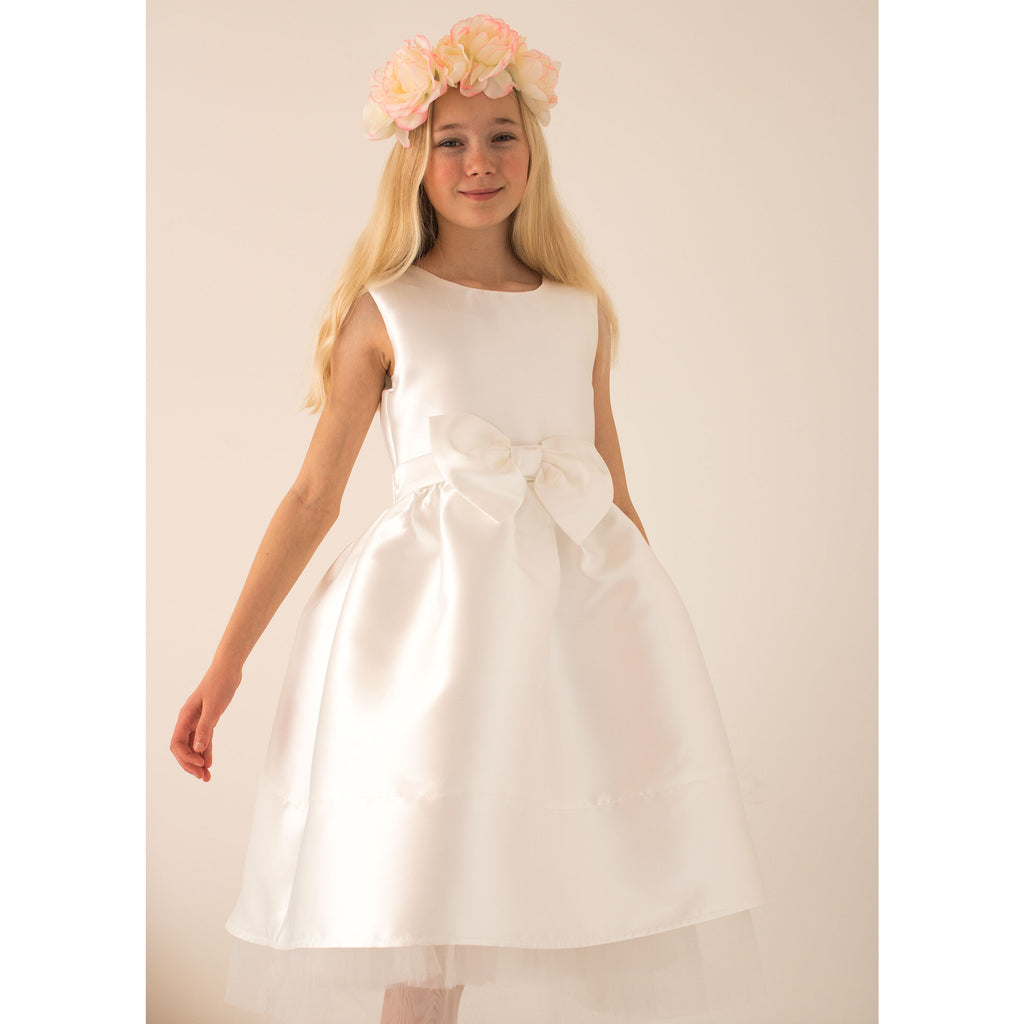 Girls Party Dress Florence Ivory Taffeta Bow | Holly Hastie London