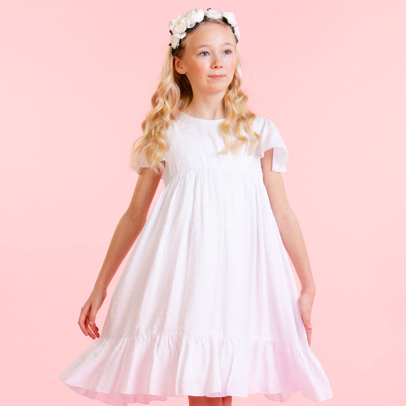 Girls Designer Poppy White Cotton Dobby Party Dress | Holly Hastie London