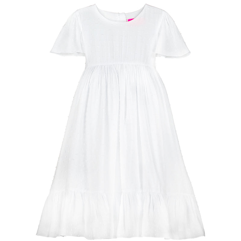 x Girls Designer Poppy White Cotton Dobby Party Dress | Holly Hastie London