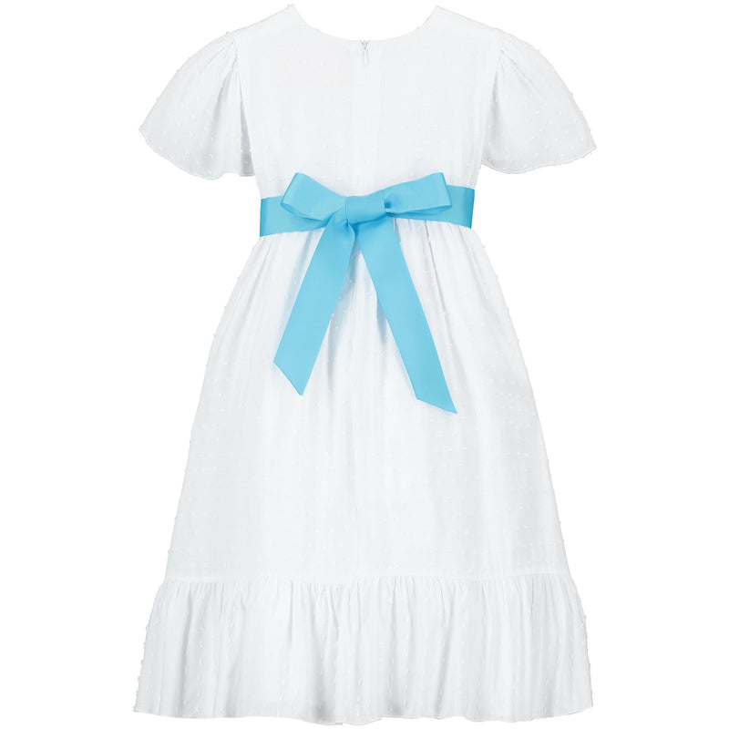 Girls Party Dress Poppy Petite Spot Blue | Holly Hastie London