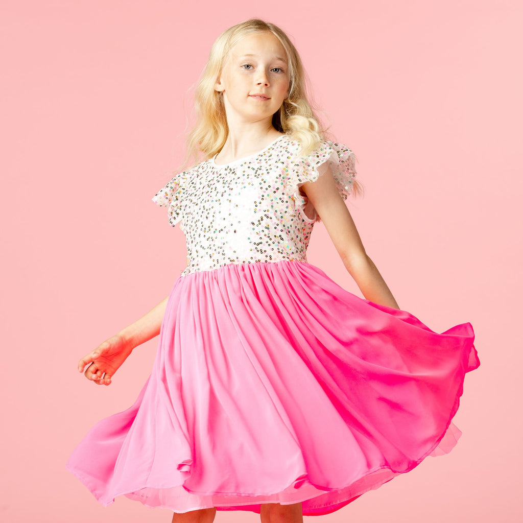 Girls Designer Shimmer Pink Sweetie Sequin Dress | Holly Hastie London
