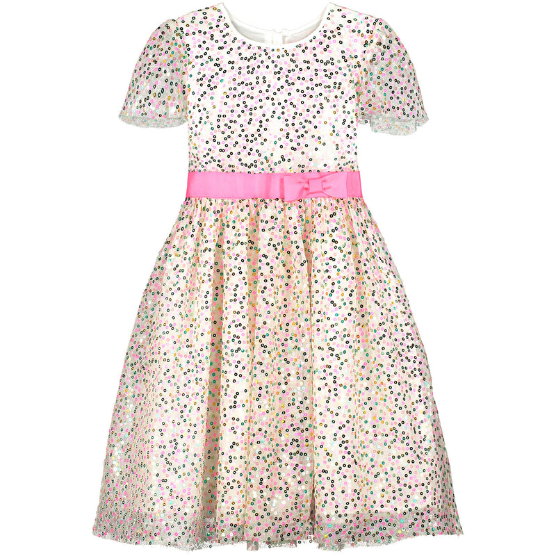 Girls Designer Seren Pink Sweetie Sequin Party Dress | Holly Hastie London