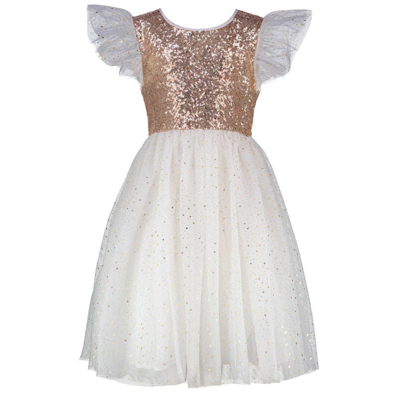 Girls Designer Party Dress Shimmer Gold & White Sequin & Star Tulle | Holly Hastie London