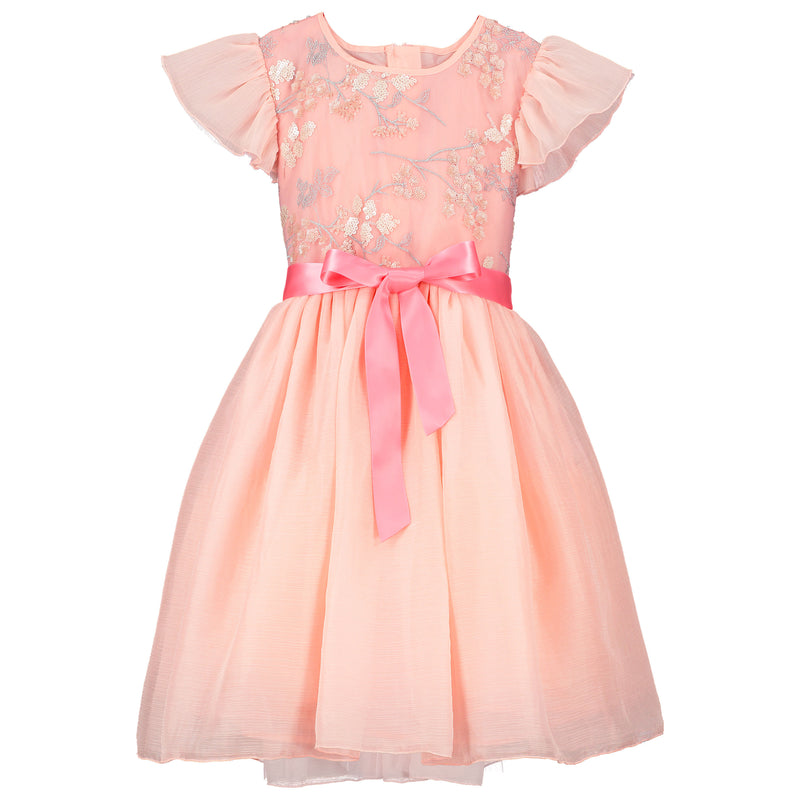Girls Party Dress Shimmer Pink Blossom Sequin Embroidered | Holly Hastie London