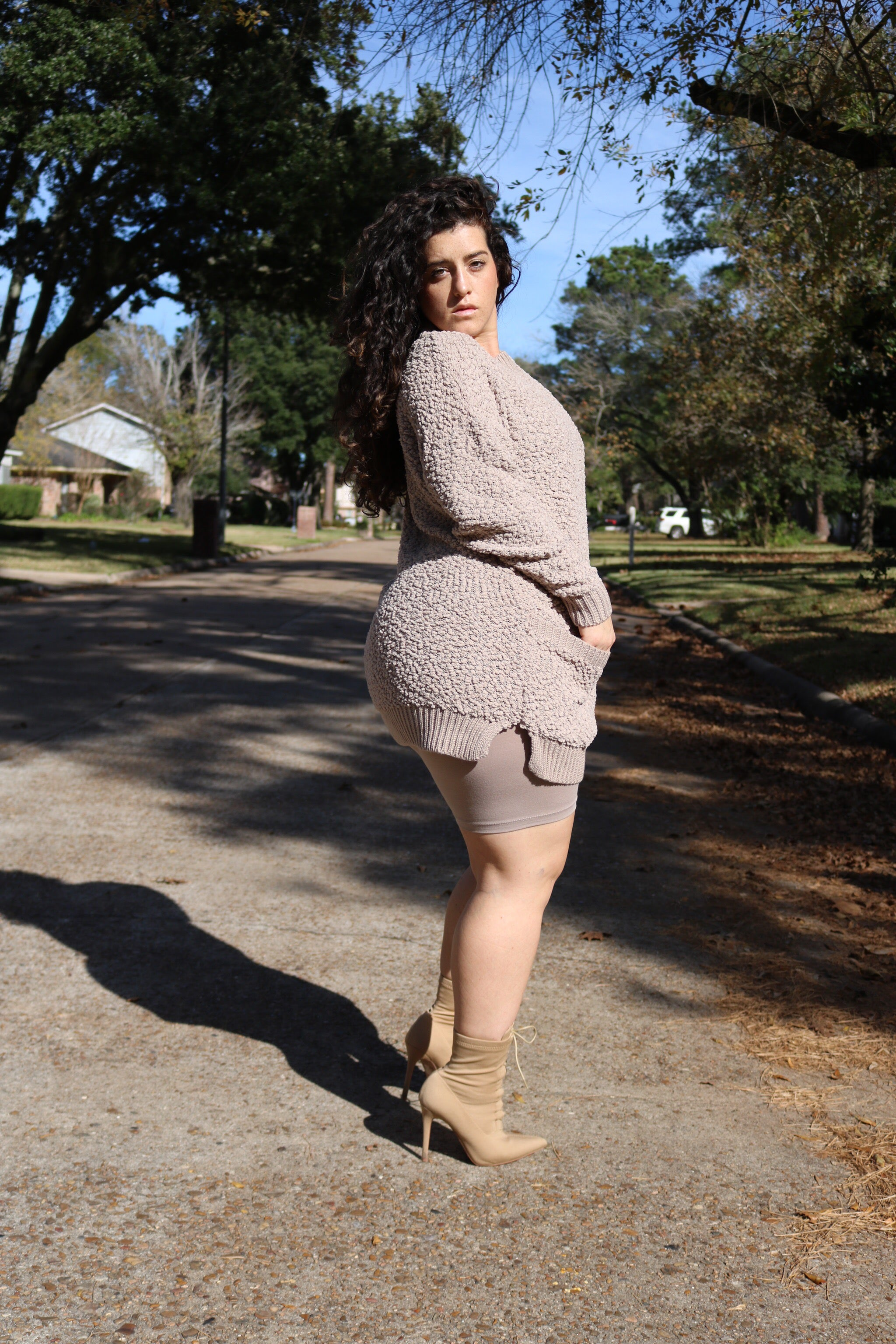 The Cozy Sweater Set (Biker Short) - Ash Mocha