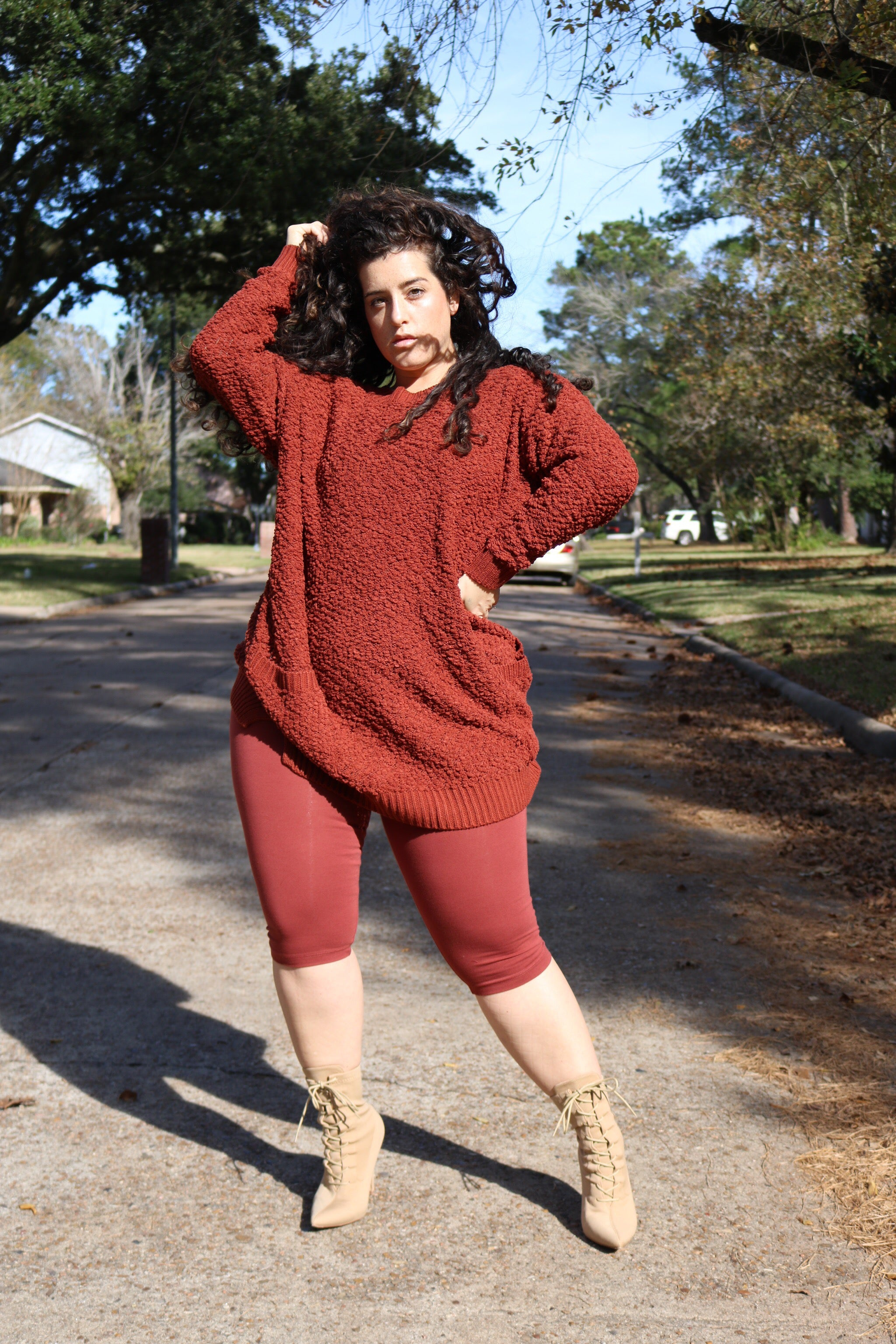 The Cozy Sweater Set (Capri) - Rust