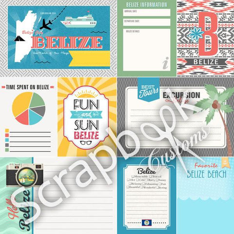 "BELIZE Tropical Journal 12""X12"" Scrapbook Travel Paper"
