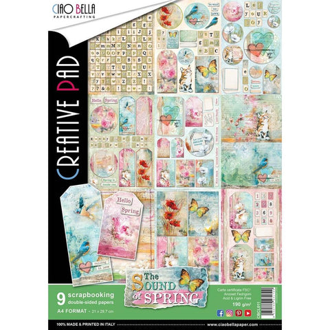 Ciao Bella THE SOUND OF SPRING A4 Paper Pad 9 sheets Scrapbooksrus