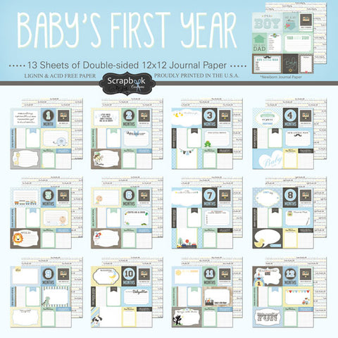 BABY'S FIRST YEAR DS Journal 12X12 Boy Paper Kit Scrapbooksrus