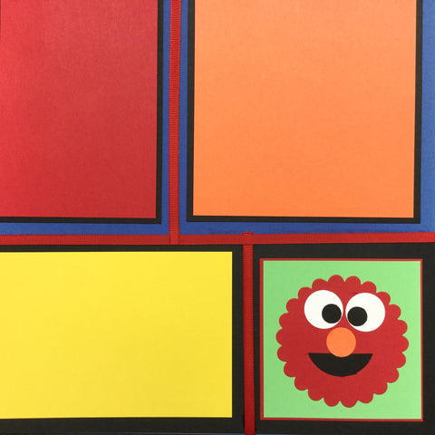 "$5.00 Premade Pages ELMO & FRIENDS (2) 12""X12"" Scrapbook Pages Scrapbooksrus"