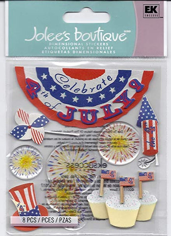 Ek Success Jolee's Boutique FOURTH OF JULY Stickers 8pc Scrapbooksrus