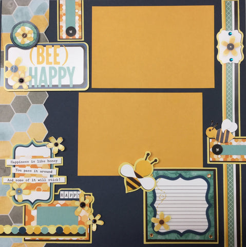 Page Kit (2) 12x12 Scrapbook BEE HAPPY Scrapbooksrus