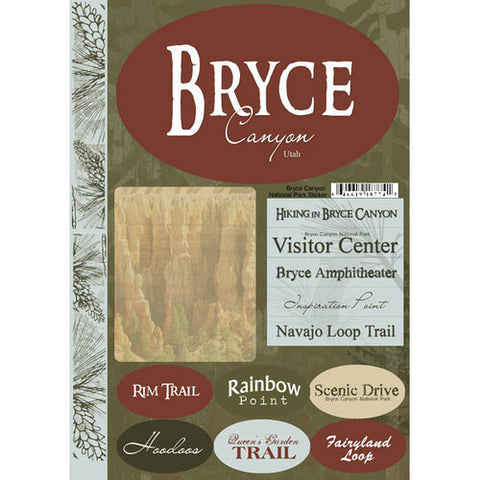 BRYCE National Park Scrapbook Stickers 13pc Scrapbooksrus