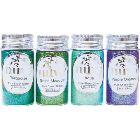 Nuvo Pure Sheen Glitter PEACOCK FEATHERS Aqua Bottles