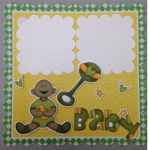 Page Kit (2) 12x12 Scrapbook AA BABY BOY GREEN - Scrapbook Kyandyland