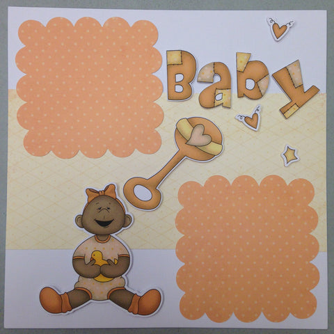 Page Kit (2) 12x12 Scrapbook BABY GIRL ORANGE - Scrapbook Kyandyland