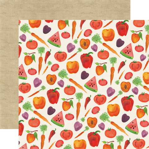 "Echo Park HomeGrown HARVEST 12""x12"" Cooking Food Paper"